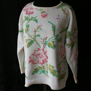 Vintage Sweater crew neck Long Sleeve Pink Floral